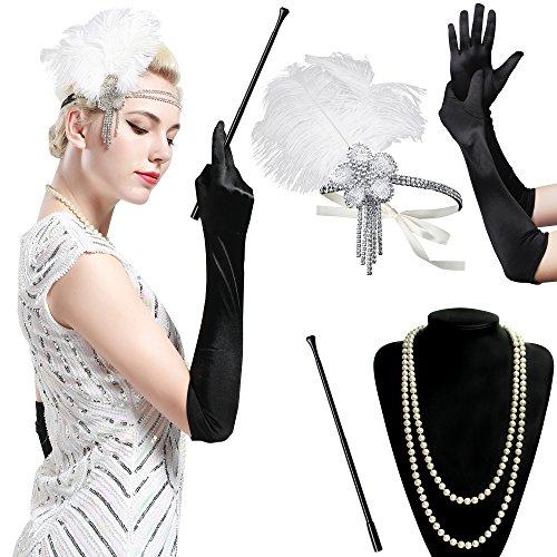 er Set Damen Gatsby Kostüm Accessoires Set inklusive Stirnband Halskette Handschuhe Zigarettenhalter (Set-8) (Flapper Kostüme Great Gatsby)