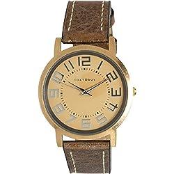 Tokyobay T135M-GD Frauen Edelstahl Eva Brown Platform Lederband Metallic Gold Zifferblatt Watch