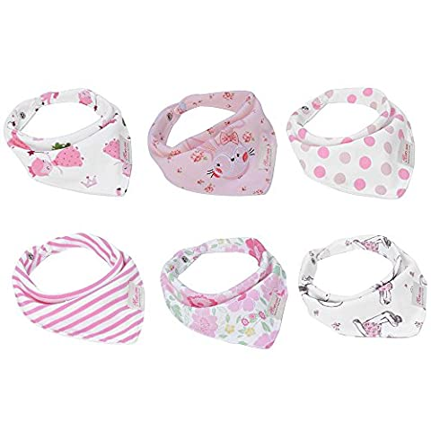 Baby Bandana Bibs Baby Gift Unisex Baby Drool Bibs 6 Packs Super Absorbent Cotton Bibs with Snaps for Girls and Boys …