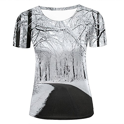 3d Print T Shirts Beautiful Rime/Winter Road Graphics Men Women Couple Fashion Tees C