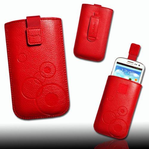 Handy Tasche Kunstleder rot circle2 für Samsung Galaxy S4 i9500/i9505 / HTC One / HTC One SV / Samsung Galaxy Express i8730 / Samsung Galaxy Xcover 2 S7710 / Samsung GT-i8750 Ativ S / Alcatel One Touch 991D / 992D