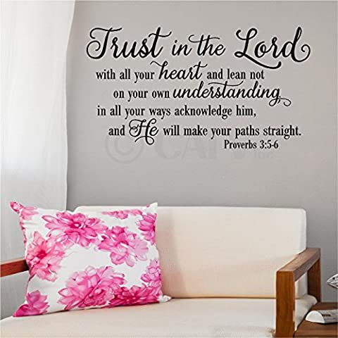 Trust in the Lord Proverbs 3:5-6 vinyl wall decal quote (Black, 12.5