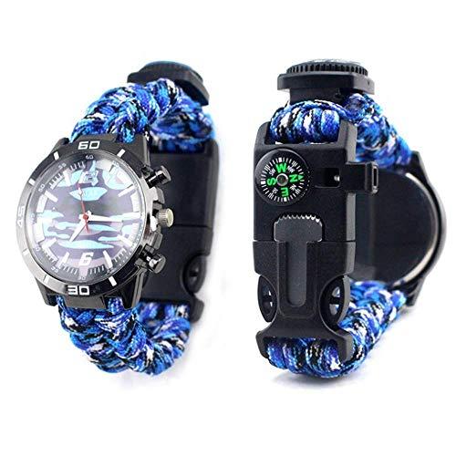 Nobu Peak Survival Uhr National Style Student Wear Survival Armband Herren Damen Kompass Pfeife Analog Uhr Survival Equipment Wasserdicht Verstellbar, Marine Camouflage -