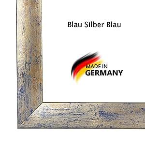 Bilderrahmen PN35 16x74 oder 74x16 cm in BLAU SILBER BLAU normal Kunstglas und Rückwand, 35 mm breite MDF-Leiste mit Dekor Folienummantelung