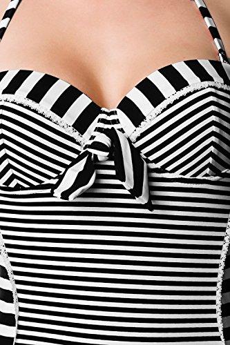 Sexy Vintage Badeanzug Retro Look Streifen Muster Rot Weiß Rot Rockabilly 50s Schwarz