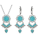 Lucia Costin Silver, Turquoise Crystal Jewelry Set with Leaf Ornaments
