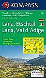 Lana-Etschtal/Lana-Val d'Adige: Wander-, Bike- und Skitourenkarte mit Panorama. GPS-genau. 1:25.000 -