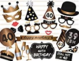 Veewon 40th Birthday Photo Booth Props Party Favor Kit - 23 Count