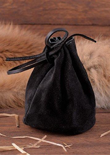 Lederbeutel, groß, schwarz – Geldbeutel – Wikinger – Mittelalter – LARP - 2