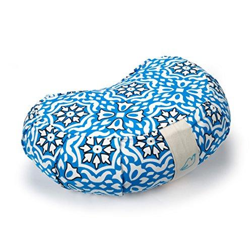 Blue Dove Yoga Coussin de méditation zafu en forme de croissant En coton biologique Certifié GOTS , Homme femme mixte, imprimé bleu