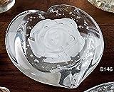 PAPERWEIGHT, Briefbeschwerer WHITE ROSE, Glas