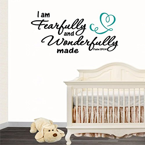 jeyfel Kleber: Sie Sind Fearfully und Wunderbar Made. Psalm 139: 14Vinyl Wand Aufkleber. Schriftzug Vinyl Wall Art Inspirierende