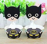 Unbekannt Set mit 12 Batman-Cupcake-Topper mit doppelseitigen Wrappers – Cupcake-Topper Party Supplies, für 1 Jahr altes Mädchen Geburtstag Outfit, Party Dekoration