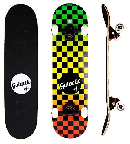 GALACTIC Planche de Skateboard Complète, Double Kick Trick Avec Trucks en Alliage d\'Aluminium et Roues de 52 mm / 95 A, Avec Roulements ABEC-9, Pour Enfants Jeunes Adultes et Débutants