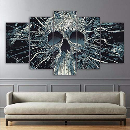 Decor Wanddekoration Hd Drucken Malerei 5 Stücke Scary Skull Mask Skeleton König Auf Leinwand Artwork Modular Abstrakt 30X40/60/80Cm,No Frame ()