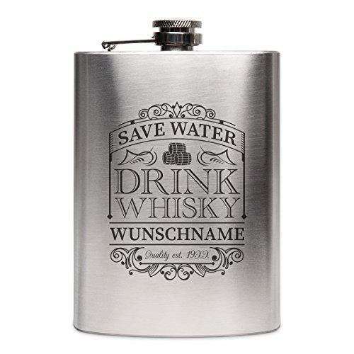Flachmann Edelstahl 8oz. 237 ml mit individueller Gravur - Save Water Drink Whisky