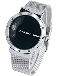 GT Gala Time Turnable Analogue Black Dial Stainless Steel Silver Men's Watch Paidu-0028