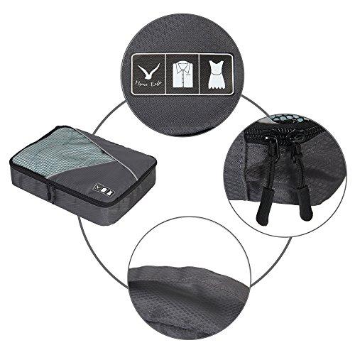 Veevan Unisex Reisen Reisetaschen Packtaschen Kofferorganizer Kleidertaschen-Set 4 teiliges Rosa Grau
