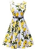 KUONUO Annata Vestito anni '50 Donna Elegante Cerimonia Cocktail Floreale Abito in Cotone A-Line Stile Vintage Anni 50 Audrey Hepbun