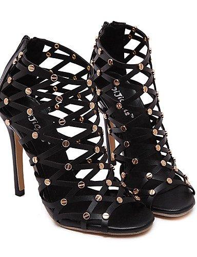 LFNLYX Chaussures Femme-Habillé / Soirée & Evénement-Noir-Talon Aiguille-Talons / Bout Ouvert / A Plateau-Sandales-Similicuir Black
