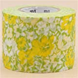 nastro adesivo decorativo largo mt Washi verde con fiori bianchi e gialli