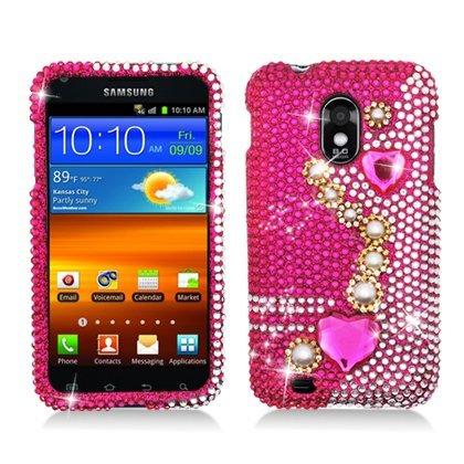 Bastex Pearl Pink Strass/Kristall/Bling/Diamond Hard Case Cover für Samsung Galaxy S II Hercules T989(T-Mobile) (Samsung Galaxy S-ladeanschluss)