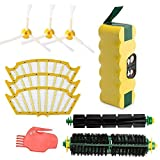 efluky 3.5Ah Roomba Battery + Accessory Kit for iRobot Roomba 500 Series 500 510 530 535 540, 550 560 561 570 580 585 595 - Replacement Part Kit Includes 1 3.5Ah Roomba Battery, 1 Bristle Brush, 1 Flexible Brush, 3 Filters, 3 Side Brushes, 2 Cleaning