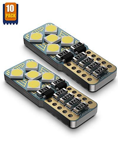 Wayrank W5W T10 LED 10 Pezzi Lampadine con Canbus, Auto Interno Lampadine, Auto Targa Lampade, Luce di Parcheggio, 555 501 558 2825 175 192 168 194, 3030SMD, 12V, 6000K, bianco