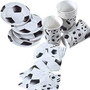 36 teiliges set fussball schwarz weiss mit. Black Bedroom Furniture Sets. Home Design Ideas