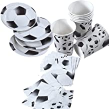 36-Piece Party Set for Children's Party with Football Black / White Motif: Paper Plates / Cups / Serviettes by TIB