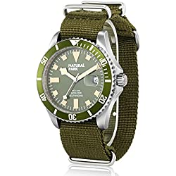 Men Sport Army Watch with Date Calendar Luminous Hand Nylon Strap