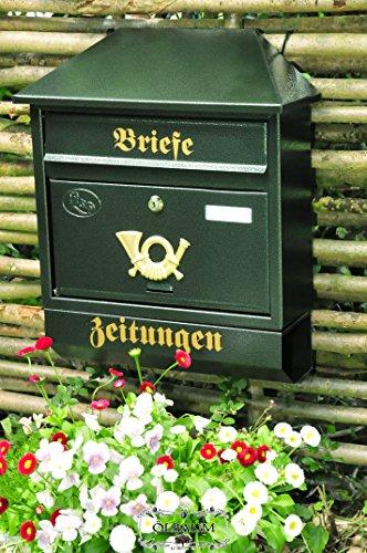 Großer Massivstahl-Briefkasten, verzinkt mit Rostschutz Walmdach W grün dunkelgrün moosgrün Zeitungsfach Zeitungsrolle Postkasten NEU