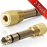 2 STÜCK - 6,35mm auf 3,5mm Klinke-Adapter | 6.35mm Klinkenstecker auf 3.5mm Klinken Buchse | 6 3 5 zu 3 5 | aux Audio Adapter mit Vergoldete Kontakten für Kopfhörer / Lautsprecher | Kabel Umwandler | MOVOJA-EP-321