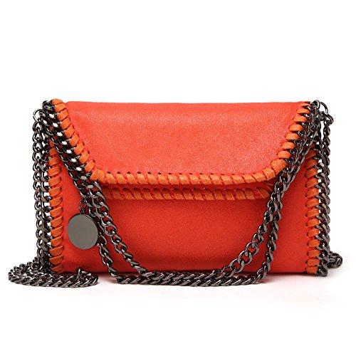 Angleliu Damen PU lässigen Kette Handtasche Modisch Schultertaschen Glitzer Beuteltasche (Medium Orange) -