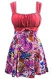 Wantdo Damen Figurformend Einteiler Badeanzug Schwimmkleid Retro Raffung Bademode Große Pink 36-38
