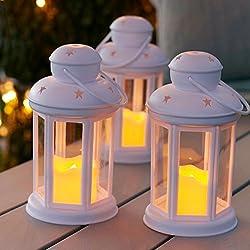 Conjunto de 3 farolillos blancos con vela LED a pilas