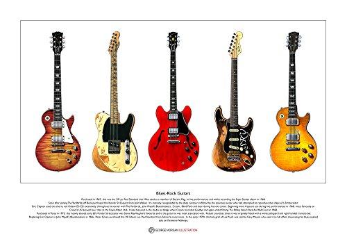 George Morgan Illustration Berühmte Blues-Rock Gitarren Limitierte Fine Art Print A3 Größe