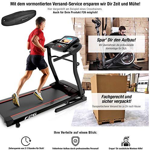 Sportstech F26 Profi Laufband mit Smartphone App Steuerung Pulsgurt im Wert von 39,90 € inklusive - MP3 AUX Bluetooth 4 PS 16 km/h HRC Training - kompakt klappbar verstaubar (F26 Aufgebaut)
