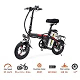 LIU Portatile Pieghevole Bici Elettrica,14 Pollici Pneumatici 400W Motore ebike Max 35 km/h e Bici per Adulti,Nero