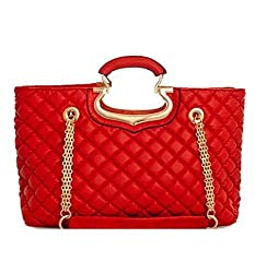 2Chique Boutique Womens Red Smooth Textured Quilted Faux Leather Tote