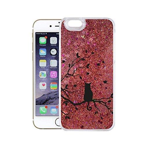finoo | Iphone SE Flüssige Liquid Rose Goldene Glitzer Bling Bling Handy-Hülle | Rundum Silikon Schutz-hülle + Muster | Weicher TPU Bumper Case Cover | Queen Black Katze auf Ast