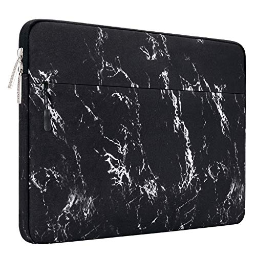 MOSISO Laptop Sleeve Hülle Kompatibel 2018 MacBook Air 13 A1932, 13 Zoll MacBook Pro A1989undA1706undA1708 2019 2018 2017 2016, Surface Pro 6/5/4/3, Canvas Marmor Muster Laptoptasche, Schwarz