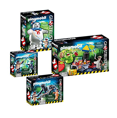 Playmobil Ghostbusters Set: 9221 Stay Puft + 9222 Slimer with Hot-Dog-Stand + 9223 Venkman & Terror-Dogs + 9224 Spengler & Ghost