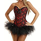 Lips and cherry - Lingerie: corset con tanga - largo - para reducir cintura - rojo y negro, con lazo