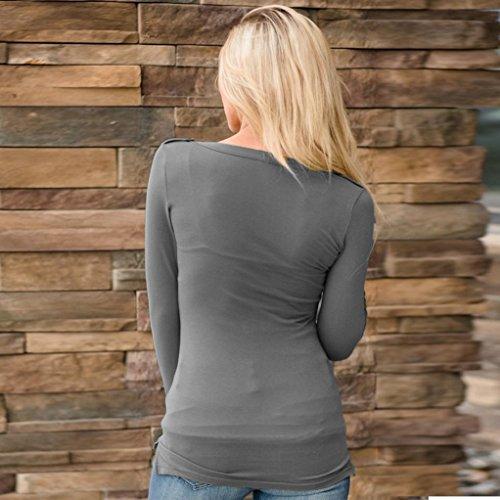Winwintom Femmes Blouse V cou à manches longues bouton poche couleur unie T-shirt Bouton Tee Dames Casual Slim Tops Gris