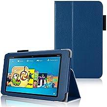 Invero–Funda slim fit–Funda de piel con función de soporte para Amazon Kindle Fire HD 6Pulgadas (2014Edition) incluye protector de pantalla, lápiz capacitivo, gamuza de microfibra y tarjeta de aplicación