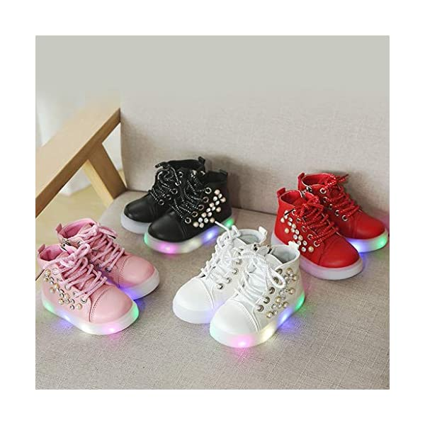 Zapatillas LED para niños Niños Baby Girls Pearl Crystal Led Light Luminous Running Sport Botas Zapatos 2