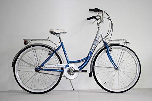 "NUOVA BICI BICICLETTA CLASSICA DONNA 26"" TREKKING CITY BIKE SENZA CAMBIO OLANDA (Blu)"
