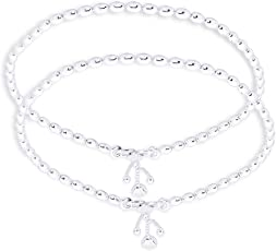 Taraash Single Line Plain Ball Ending with Charm 925 Sterling Silver Anklet For Women AN0523S