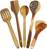 SKAFA Mango Wood Cooking Spoon, Set of 5, Brown